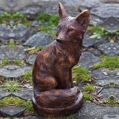 Carved Style Statue Of A Sitting Fox. Product: StatueConstruction Material:  ResinColor: