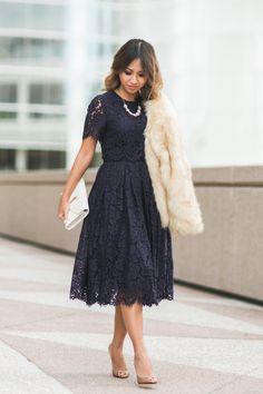Navy blue lace midi dress with cream faux fur coat Short Sleeve Prom Dresses, Modest Dresses, Trendy Dresses, Homecoming Dresses, Dresses For Sale, Cute Dresses, Beautiful Dresses, Midi Dresses, Short Sleeves