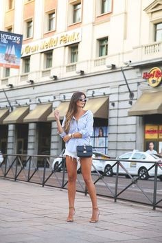 Blue Striped Button Down + Denim Shorts