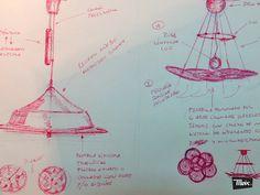 """boceto de lámpara """"tonaycleo"""" de moix - lámpara de los 60' en chapa anodizada color burdeos, pantalla circular en lienzo personalizado, cable textil. 300 €."""