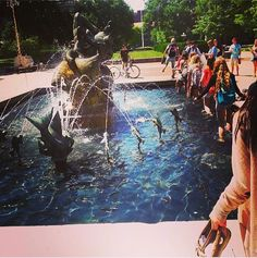 Once you walk through this fountain, you're officially a Wolverine!