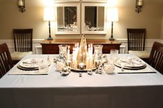 silver & blue tablescape - ideas for holiday tables