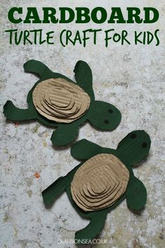Upcycled easy turtle craft for kids - good for scissor skills and learning about sizes.