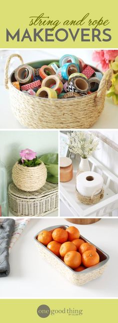Transform just about any old container into a beautiful new piece of home decor with some glue and a ball of string!