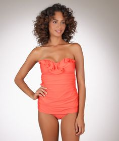 Ella+Moss+Solid+Coral+Strapless+1+Piece+Bathing+Suit