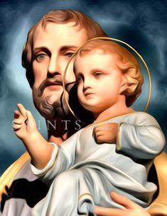Joseph Digital Painting - created by Saints Alive Art Studio Personal Prayer, Colorized Photos, Saint Joseph, Prayer Board, Catholic Art, Holy Family, Great Love, Icons, Statue