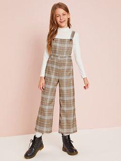Girls Buttoned Strap Tartan Overall Jumpsuit Teenage Girl Outfits, Kids Outfits Girls, Cute Girl Outfits, Girls Fashion Clothes, Tween Fashion, Teen Fashion Outfits, Girly Outfits, Cute Casual Outfits, Kids Dress Wear