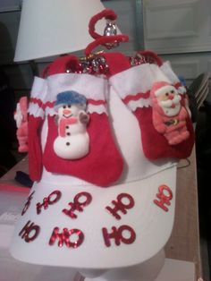 """Lil stockings w/ """"PEEPS"""" marshmallow treats as decorations on stockings.... this sample hat is 4 yrs old and looks like new..... gotta love how marshmallow gets hard!"""