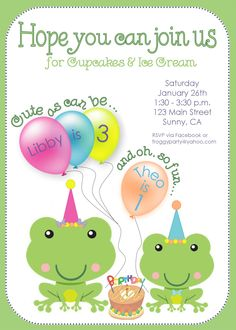 Invite I designed for my kiddies' joint birthday party