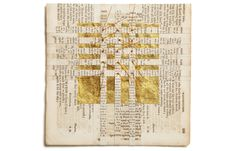 """Carole P. Kunstadt  SACRED POEM XLIV, Pages from 1844 Parish Psalmody, thread, gold leaf 2010. """"Carole has taken an 1844 Psalm book used for religious purposes, sliced it into thin strips which are then rejoined on her sewing machine. They've been interleaved with fine tissue or leaves of gold to create beautiful organic shapes in which the words no longer are the reason for the psalm book. It becomes a celebration of life and beauty that's contained within them."""" #mixed_media #weaving"""