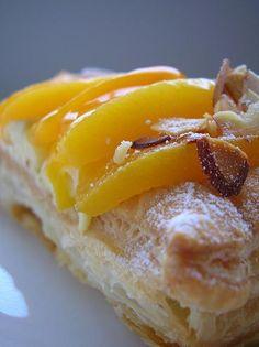 Puff pastry peach tarts