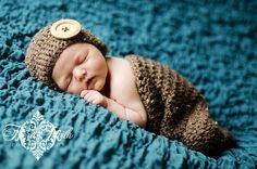 CROCHET PATTERN Cute as a Button Beanie & Cocoon (2 hat sizes included: newborn-6 months) permission to sell finished