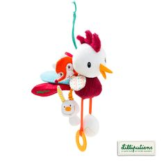 Our new little wonder John! Ophélie's lover ;)  John acti-coq - Lilliputiens - John acti-rooster #rooster #toy #baby #lilliputiens