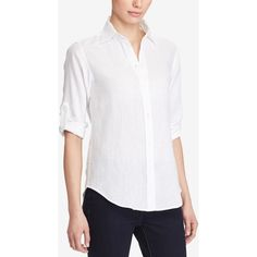 Lauren Ralph Lauren Petite Linen Button-Down Shirt ($90) ❤ liked on Polyvore featuring tops, white, button down shirts, button up top, white top, white button down shirt and linen shirts
