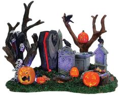 While some products were retired within of year of production, others have lasted for 10 - 12 years. Take a look at your collection and you may find that you own several retired but valuable pieces! Halloween Train, Halloween Coffin, Halloween Village, Halloween House, Halloween Art, Holidays Halloween, Halloween Decorations, Lemax Village, Grim Reaper