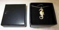 """VINTAGE STERLING SILVER 925 18"""" SEAHORSE W/PEARLIZED STONE NECKLACE/IN BOX"""