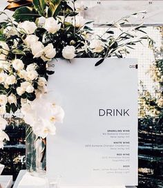 This stylish drinks menu is the ideal accompaniment to your bar - well suited to sleek and chic luxury weddings
