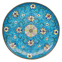 """CHINESE CLOISONNE CHARGER, Scrolling lotus design, late 18th/early 19th c. 15 3/4"""", Estimate: $2,000 - $4,000"""