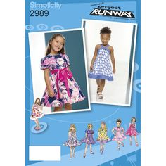 Simplicity 2989 - Toddler and Child dresses include variations for sleeves, straps, bodice, collar, and ties