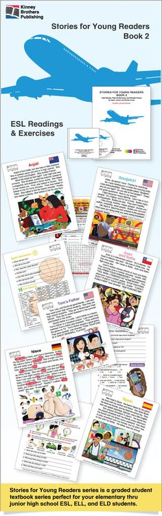 Stories For Young Readers, Book 2, is a graded textbook for students studying ESL/EFL. Students will love the engaging illustrations and easy-to-understand activities.  Teachers will appreciate the step-by-step approach, clear vocabulary and grammar exercises.  Book 2 begins with simple past tense and progresses through past continuous and future tense exercises, readings, charts, puzzles and more!  Also available are audio files and teacher's answer keys. $10 on TpT  #ESL #EFL #ELL
