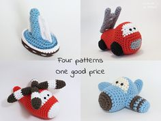 Crochet patterns amigurumi vehicles stuffed toys - fire truck, airplane, sailboat and helicopter - pdf tutorials - US English by ByMarika on Etsy