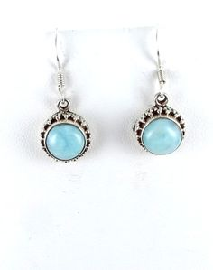 STERLING SILVER LARIMAR ROUND EARRINGS FRENCH WIRE from New World Gems