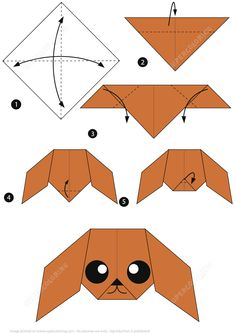 How to Make an Origami Poodle Instructions Paper crafts Instruções Origami, Kids Origami, Origami Ball, Origami Dragon, Origami Fish, Origami Bookmark, Origami Flowers, Origami Ideas, Oragami