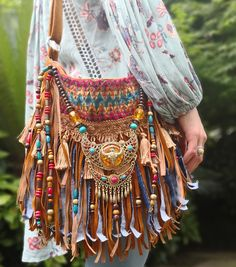 Native american style fringe purse. Made with 100% vegan materials. Wild Calla Fringe Bag from AlisoBay