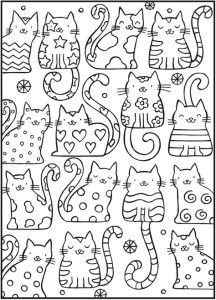 Антистресс раскраски кошки детские
