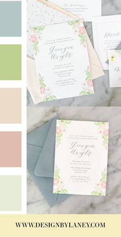 The Watercolor Crest Invitation Suite is perfect for a Spring or Summer wedding. With a hint of Southern Charm, this watercolor floral crest is sure to wow your guests! This invitation set has a modern calligraphy font but a traditional elegant layout with dusty blue, blush, and green watercolor flowers.  Mix and match envelope and text colors to make this wedding invite ideal for your Big Day. See below for all the details and corresponding pieces!