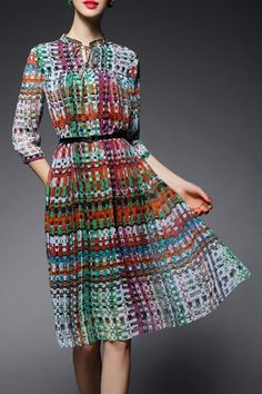 Shop gyalwana colormix stand collar print chiffon midi dress here, find  your midi dresses at dezzal, huge selection and best quality.