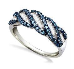Captivating 100 925 Silver Blue White Round Baguette Diamond Ring 49ct   eBay