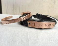 Mens jewelry, couples jewelry, couple bracelet, engraved couples bracelet, personalized couples bracelet, engraved bracelet, Couples set Roman numeral bracelet Rose by CoordinatesBracelets