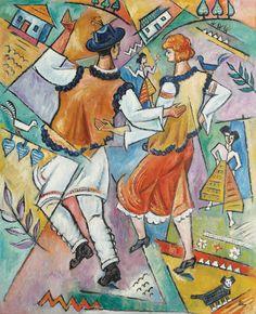 Corneliu Michăilescu, Compoziție cu motive românești  ulei pe pânză, 100,5 × 81,5 cm, semnat dreapta jos, cu brun, în monogrană, CM