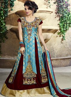 Sky Blue And Maroon Zardosi Work Floor Touch Anarkali Suit  Buy this anarkali suits collection @ http://www.indiansareestore.com/made-to-order/2005-mesmerizing-sky-blue-and-maroon-zardosi-work-floor-touch-anarkali-suit