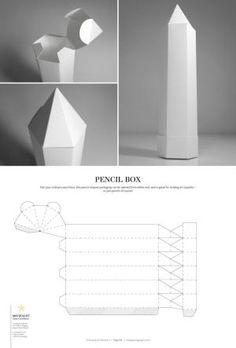 Pencil Box – structural packaging design dielines by lynne Packaging Dielines, Packaging Box, Design Packaging, Coffee Packaging, Retail Packaging, Diy Gift Box, Diy Box, Graphisches Design, Label Design
