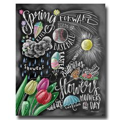 Spring Decor Spring Sign Spring Art Chalkboard Art by TheWhiteLime