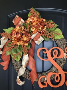 Fall Wreaths Wreaths Front Door Wreath for Fall Wreath   Etsy Front Door Monogram, Monogram Wreath, Porch Welcome Sign, Welcome Wreath, Thanksgiving Wreaths, Fall Wreaths, Wreaths For Front Door, Door Wreaths, Wire Wreath