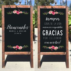 This beautiful Bienvenidos rustic sandwich board is perfect for any Outdoor or Indoor wedding! It is all hand crafted and hand painted with permanent chalk marker and acrylic paints.  This listing is for a double sided sandwich board with art on both sides.  MIX AND MATCH: Pick any two sandwich board designs you like and I can make a double sided sandwich board with one on each side, message me and I will send you a proof of what your two chosen designs would look like together. (Price may…
