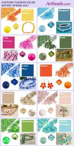 Pantone Spring 2017 colors matched up with jewelry ideas, Artbeads Seed Beads Blends, and Swarovski beads.