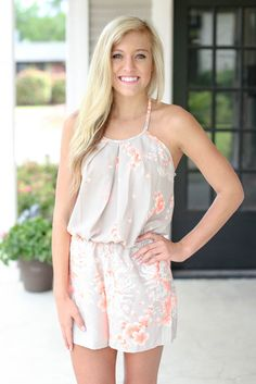 Relish the Moment Romper - Beige and Pink