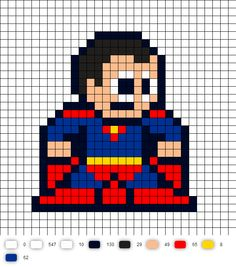 Superman Update DC Perler Bead Pattern