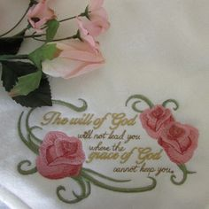 Embroidered Inspirational Comfort Blanket/Throw with Roses by LoisLizzaCreations on Etsy