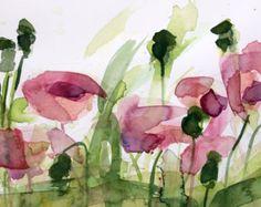 Pink Geranium no. 3 Original Floral Watercolor by prattcreekart