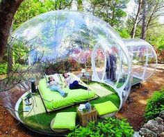 Attrap Reves Hotel in France. Worlds Unique Hotel where hotel rooms are in transparent bubbles. Here are the pictures of that amazing hotel from France. Outdoor Spaces, Outdoor Living, Outdoor Decor, Outdoor Bedroom, Outdoor Daybed, Outdoor Events, Glamping, Tent Camping, Backyard Camping