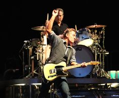 """Bruce Springsteen and the E Street Band perform """"Prove It All Night"""" at Citizen's Bank Park. Drummer Max Weinberg is in the background. 09-04-12"""