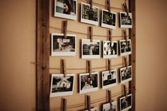 old wood, wire, and instant photos. I also love Tim Coulson photography, but that's a different story Polaroid Display, Polaroid Pictures, Photo Boards, Handmade Frames, Family Wall, Hanging Pictures, Diy Home Crafts, Home Decor Inspiration, Diy For Kids