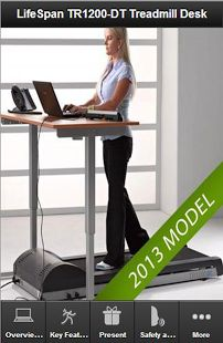 """The LifeSpan TR 1200 DT provides a versatile desktop work surface and supports all your productivity tools - laptop, printer, LCD display, phones and more. The simple and convenient desktop mounted treadmill console provides readouts for Speed, Calories, Steps Taken and Distance travelled. The padded armrests across the front of the desk offer enhanced user comfort. Desktop height adjustments from 40"""" - 56"""" support users from 4'10"""" to 6'8"""" tall"""