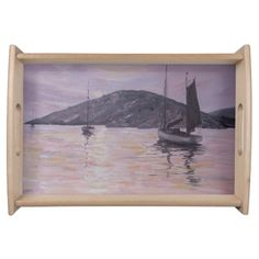 Pink Reflections, boats, sea picture, serving tray