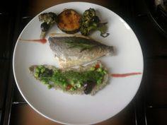 Orata piselli e purea di cavolfiori, melenzana e  broccoli alle olive Gino D'Aquino